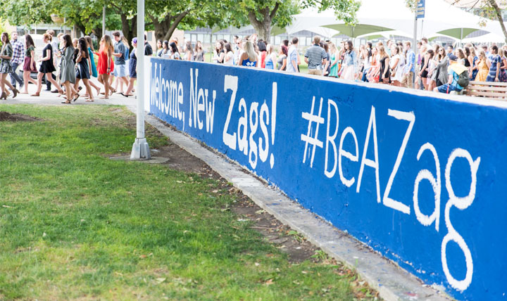 'Welcome New Zags! #BeAZag' written on the Zag wall.