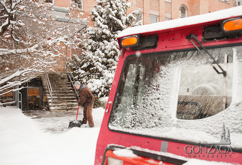 Snow removal at College Hall