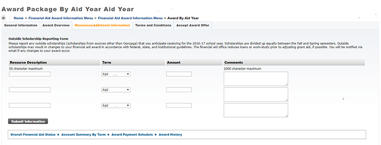Screenshot of ZagWeb Award by Aid Year form