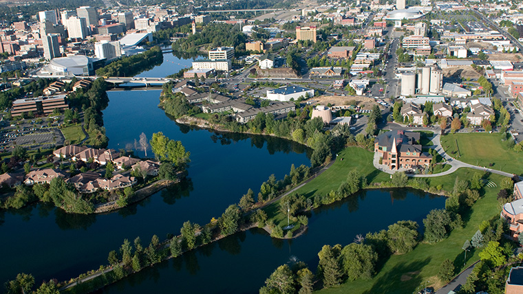 Aerial view of the west side of campus looking towards downtown Spokane.