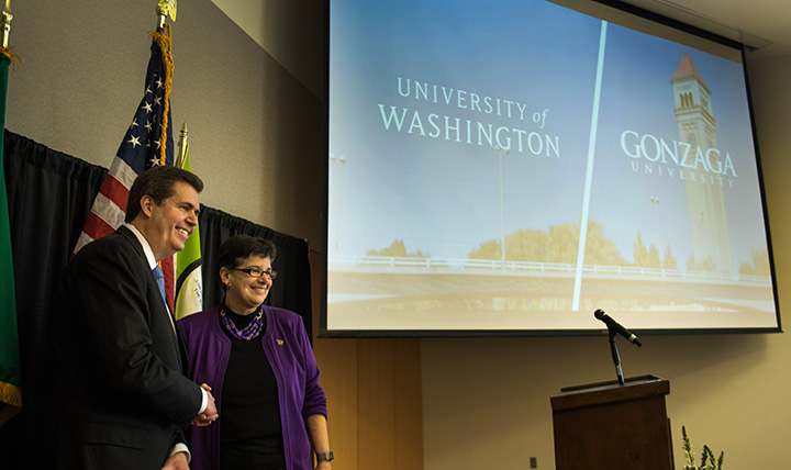 Gonzaga and University of Washington President at partnership announcement.
