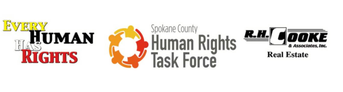 logos, left to right; 'Every Human Has Rights Commission', 'Spokane Country Human Rights Task Force', 'R.H. Cooke Real Estate'