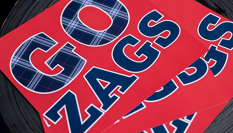 Decorative photo of GO ZAGS support sign.