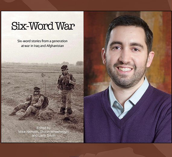 The book titled Six-Word War with an image of author Mike Nemeth