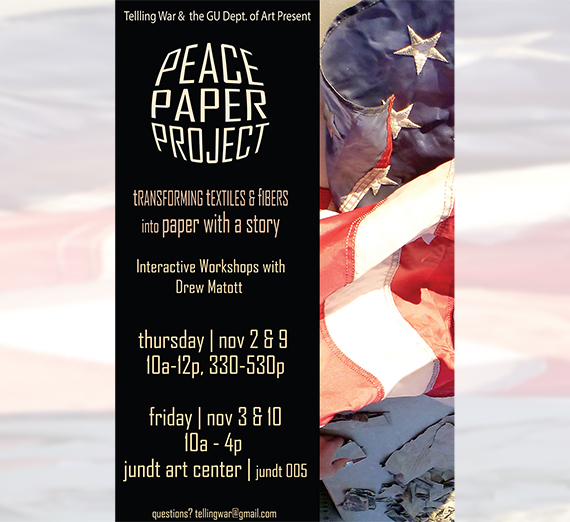 Telling War Military Veterans Initiative Peace Paper Project Event Flyer