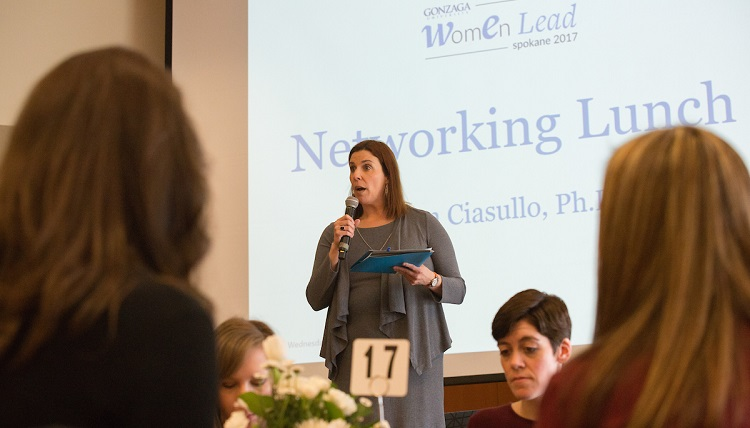 Ann Ciasullo leads a networking lunch during the first Women Lead Spokane conference on March 15 in the Hemmingson Center.
