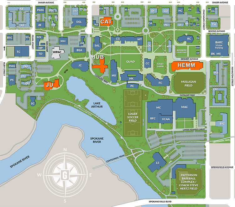 Map of Gonzaga campus with highlights of event locations.