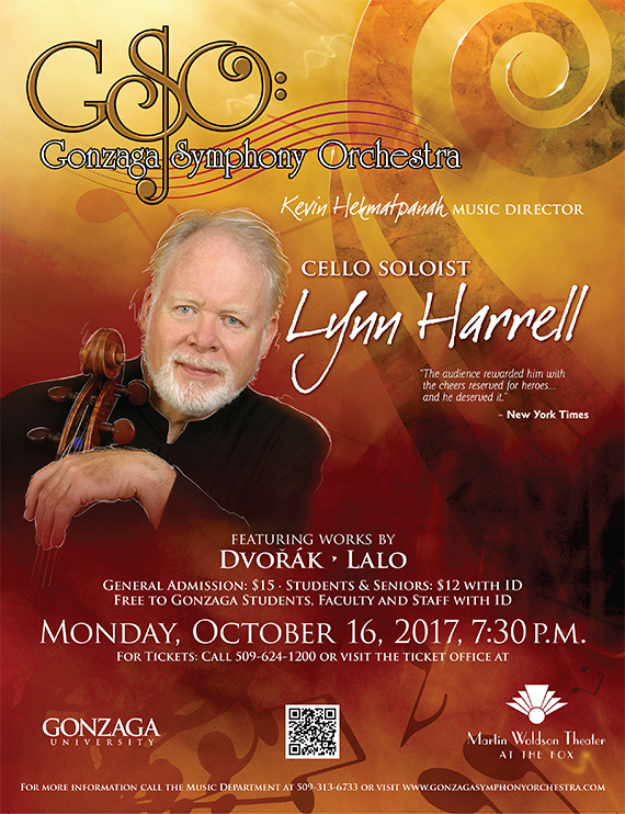 Lynn Harrell, Cello Soloist, event promotion poster