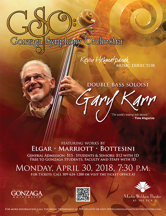 Gary Karr, Double Bass Soloist, event promotion poster
