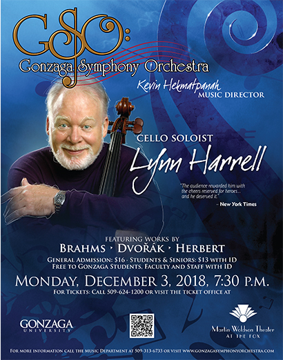 Promotional poster for Lynn Harrell, Cello Soloist, performance