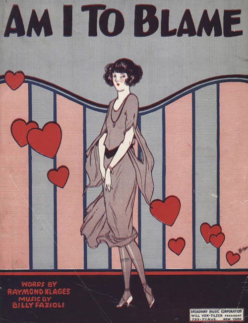 Am I To Blame 1923 sheet music cover