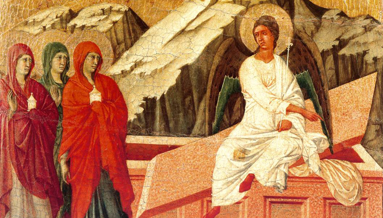 The Three Marys At The Tomb painting - scene 23 by Duccio