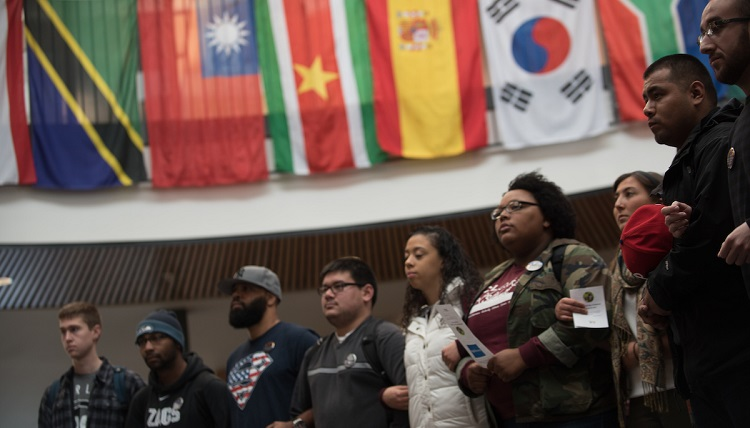 Students, faculty and staff gather to celebrate the International Day of Tollerance at the Hemmingson Center.