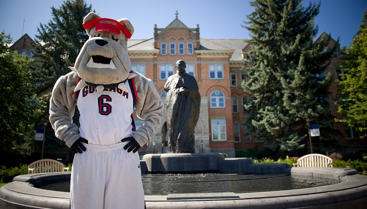 The Gonzaga Bulldog outside of College Hall
