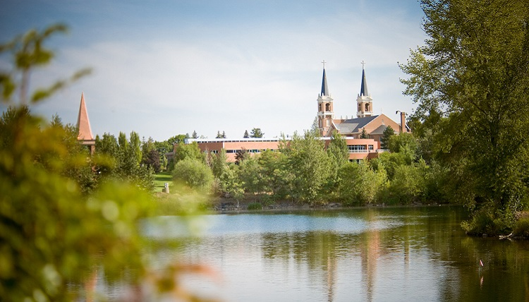 A view of Gonzaga University from across the water