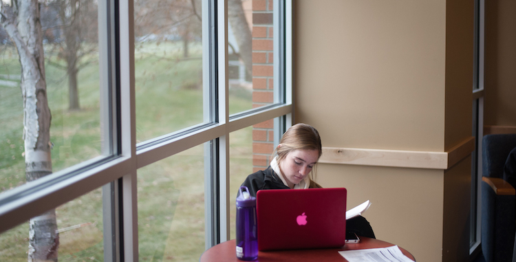 Girl studying in Jepson Lounge