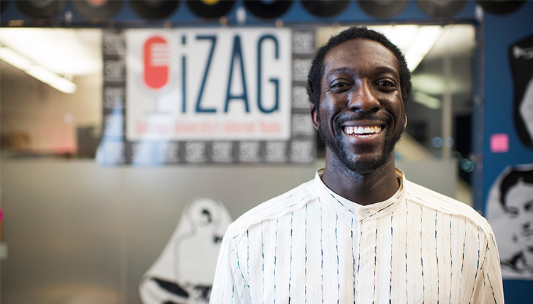 Ben Asare in the iZag radio booth