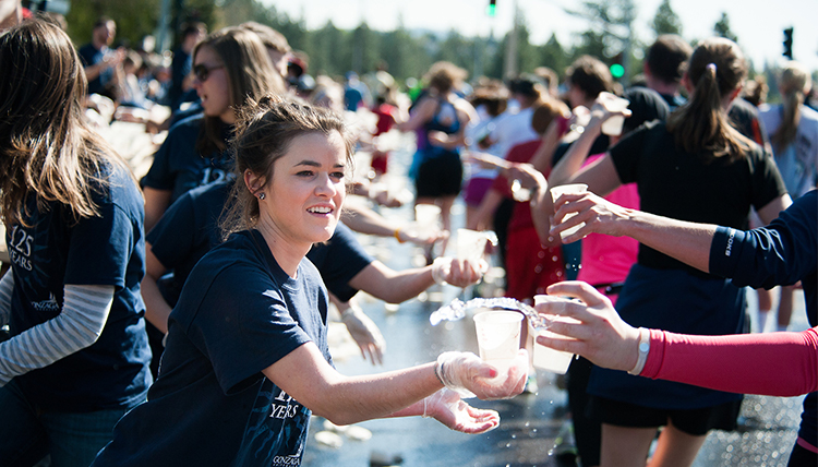 Volunteers at the annual Bloomsday run in Spokane