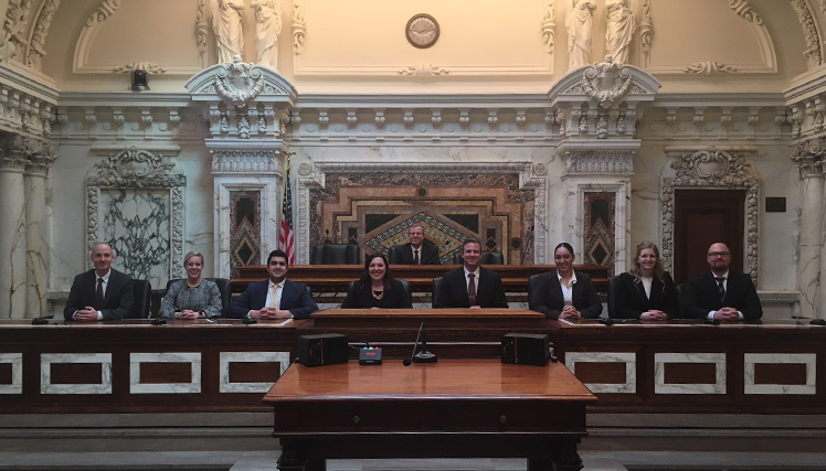 Photo of Gonzaga Law moot competition students in the Ninth Circuit in San Francisco