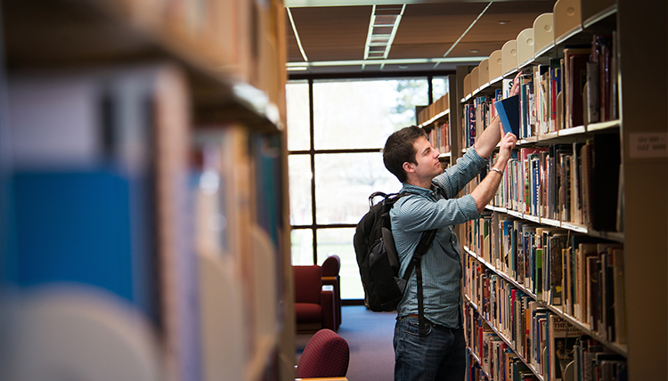 Student doing research in Chastek Library