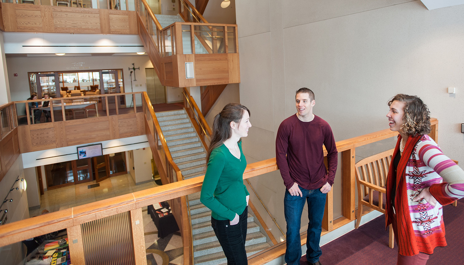 Students at Gonzaga Law standing by the staircase