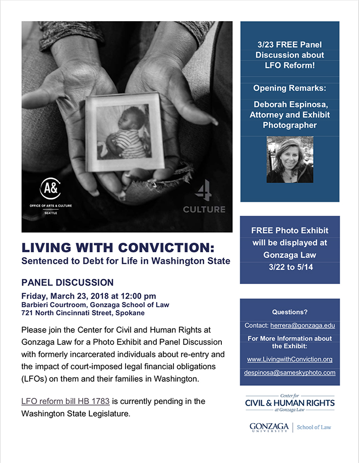Promotional flyer for Living with Conviction event at Gonzaga Law