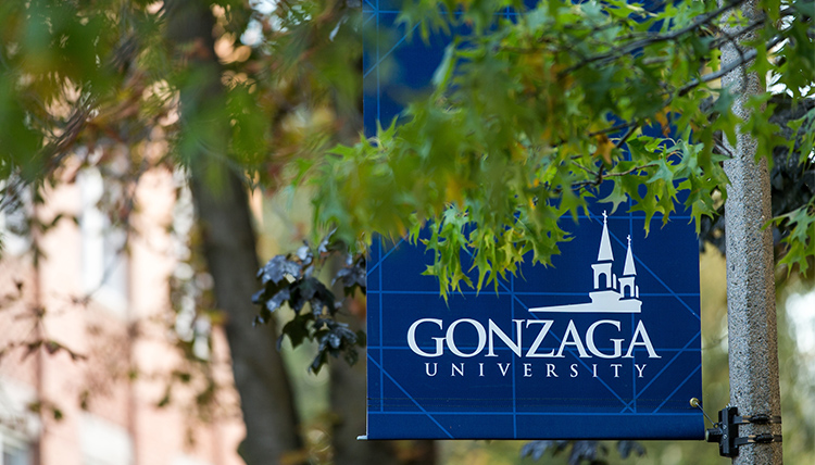 Gonzaga University post banner on campus