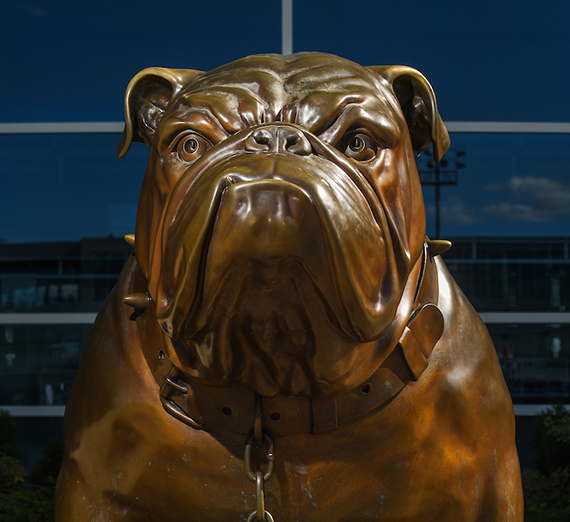 bronze bulldog statue outside McCarthy Center on Gonzaga University campus