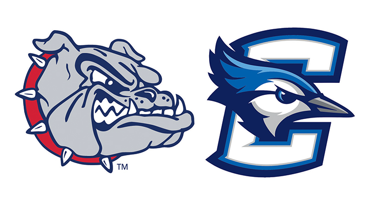 logos of the Gonzaga Bulldogs and Creighton Bluejays