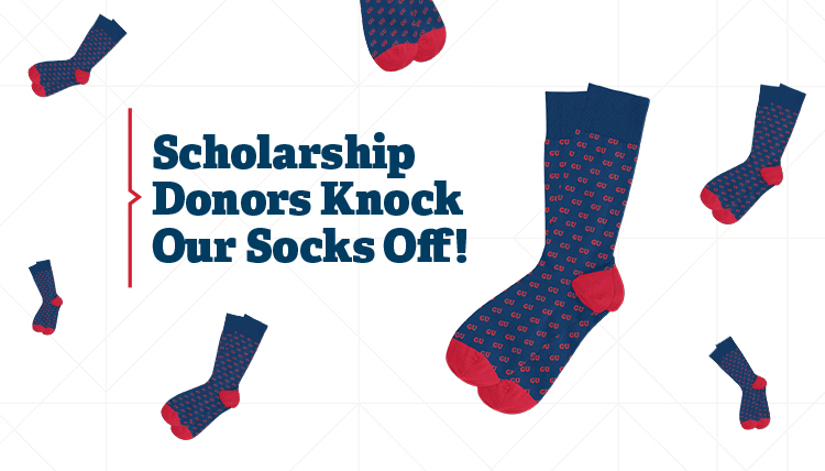 Scholarship Donors Knock Our Socks Off with GU sock images