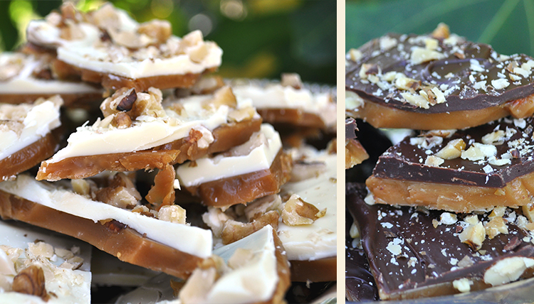 white chocolate toffee and dark chocolate toffee