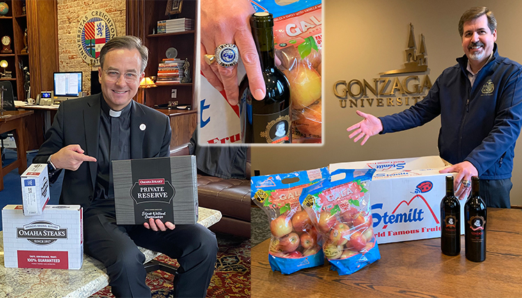 three separate images, 1 of president with steaks, 1 of president with wine and apples, 1 close up of final four ring