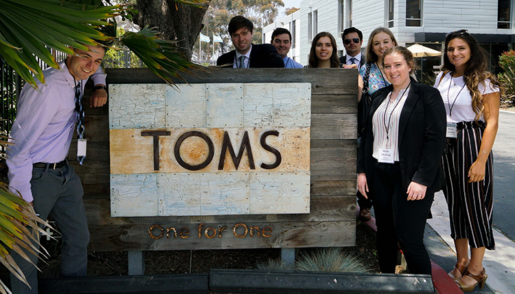 GU students at TOMS headquarters.