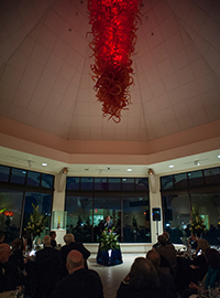 The Gonzaga Red Chandelier at an evening event