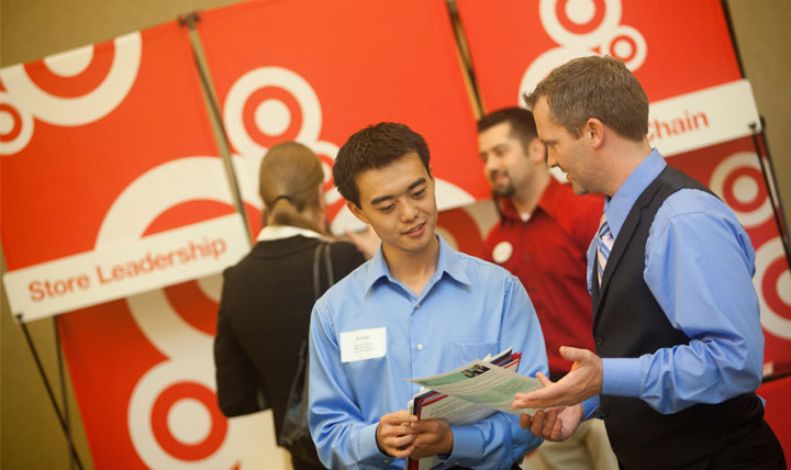 target employer speaking to student