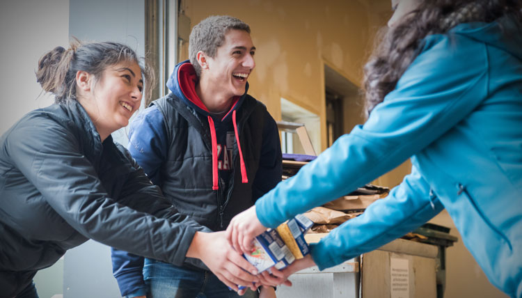 Student volunteers serving the Spokane community on Martin Luther King Jr. Day, 2016