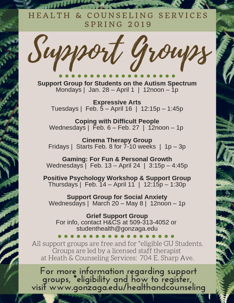 Spring 2019 Support Groups at Health & Counseling Services