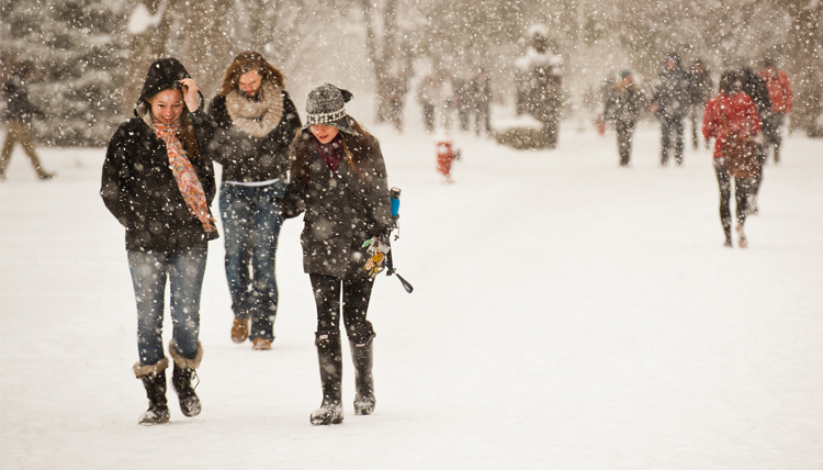 Students walking through the snow.