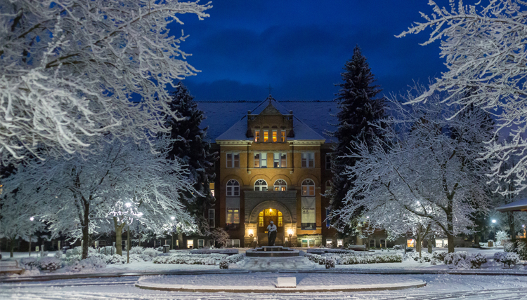 A winter night in front of college hall.