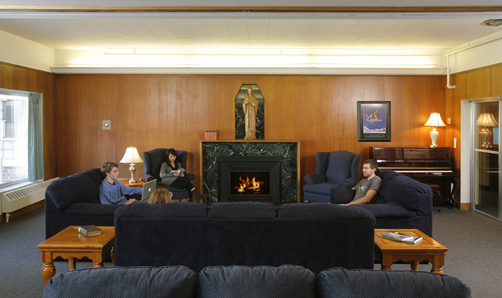 Marian Hall common area with fireplace