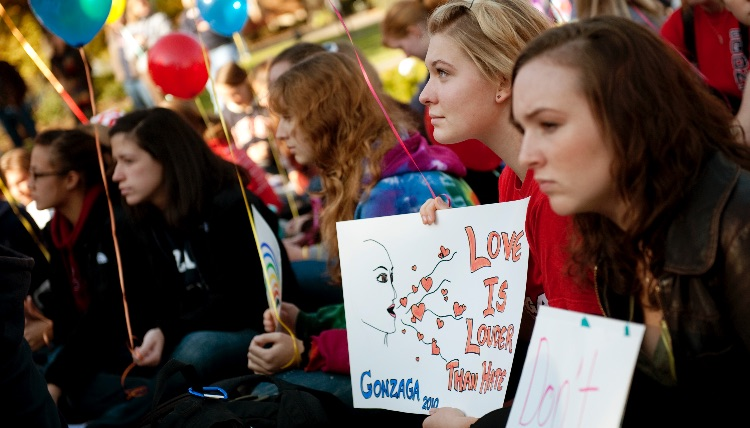 Gonzaga student activists take stance against hate during the Day for Justice in 2010.