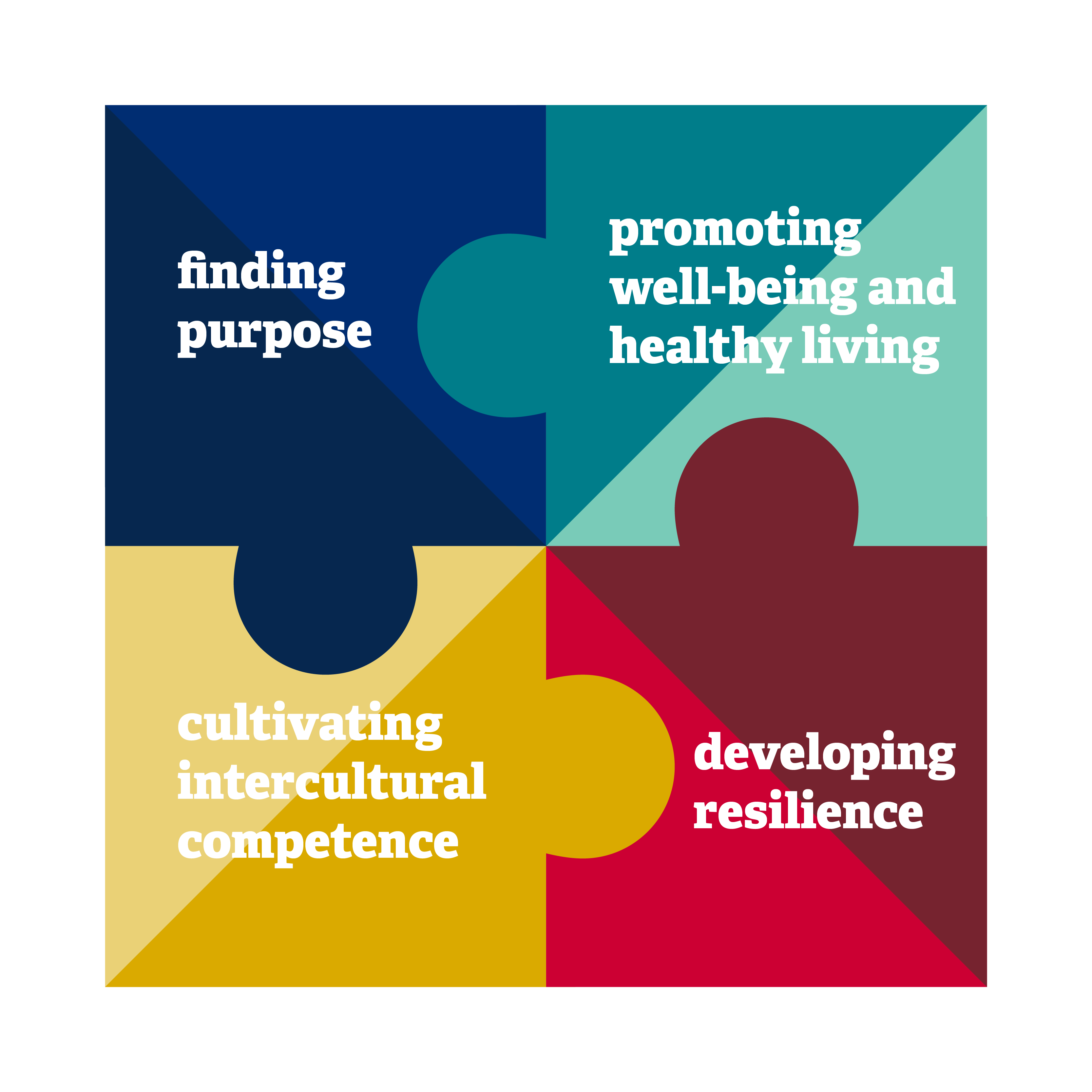 Puzzle pieces with the phrase: Finding Purpose, Promoting well-being and healthy living, cultivating intercultural competence, developing resilience