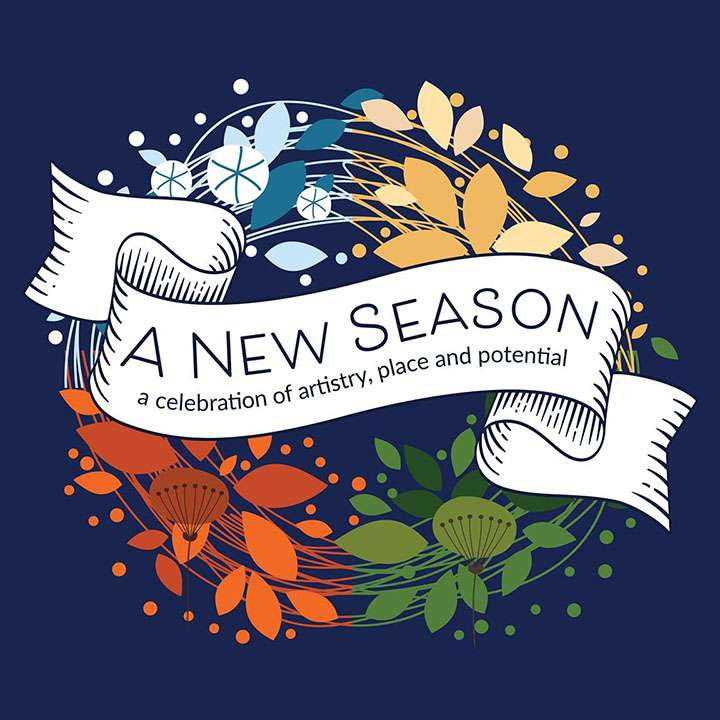 A New Season show graphic: Title in Ribbon surrounded by leaves, snowflakes, and blossoms