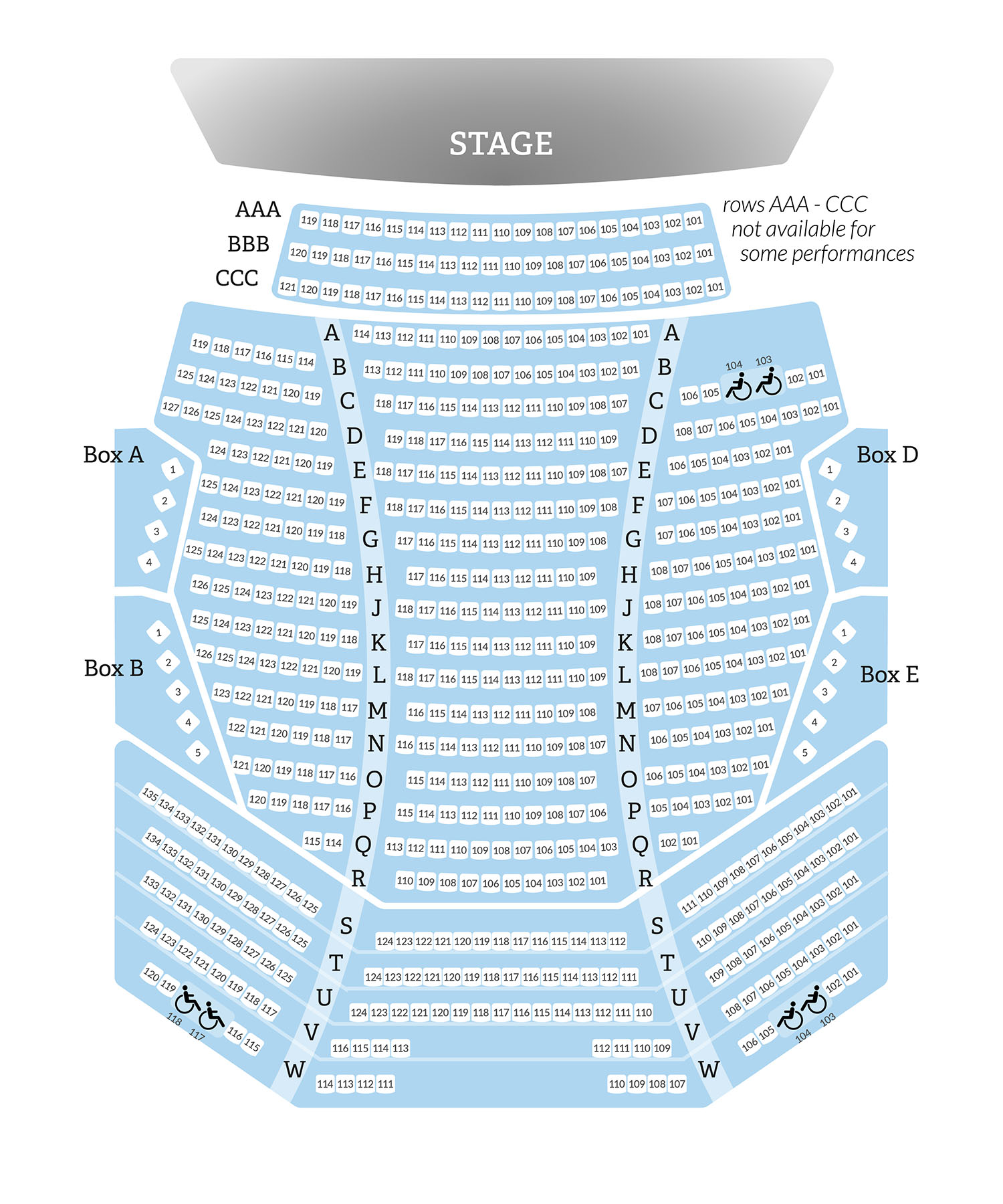 seatmap - Mainstage Theater Orchestra Level
