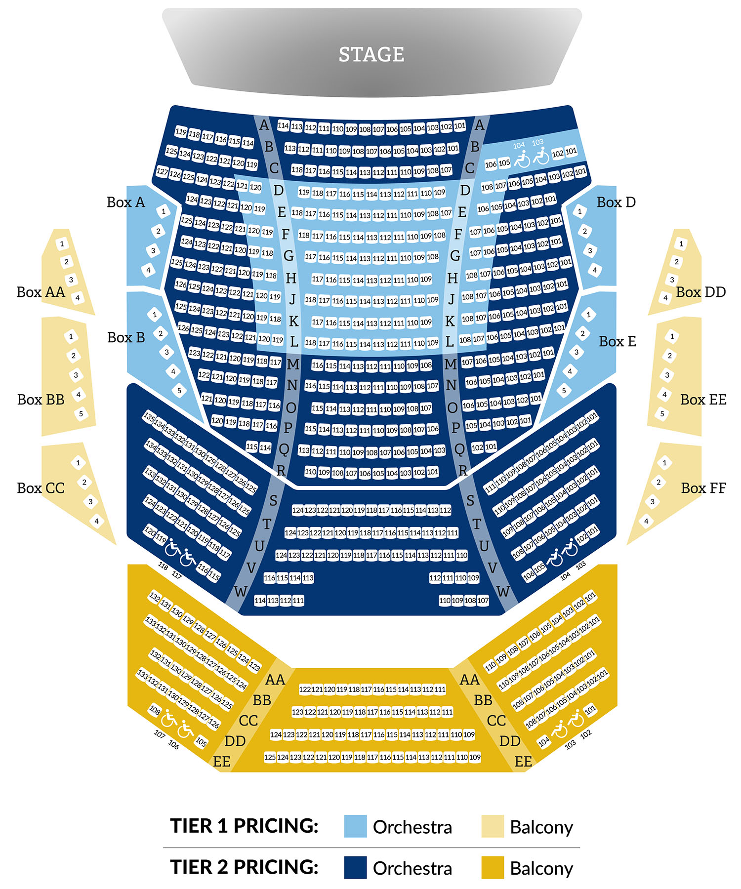 Coughlin Theater map for Orchestra and Balcony seating