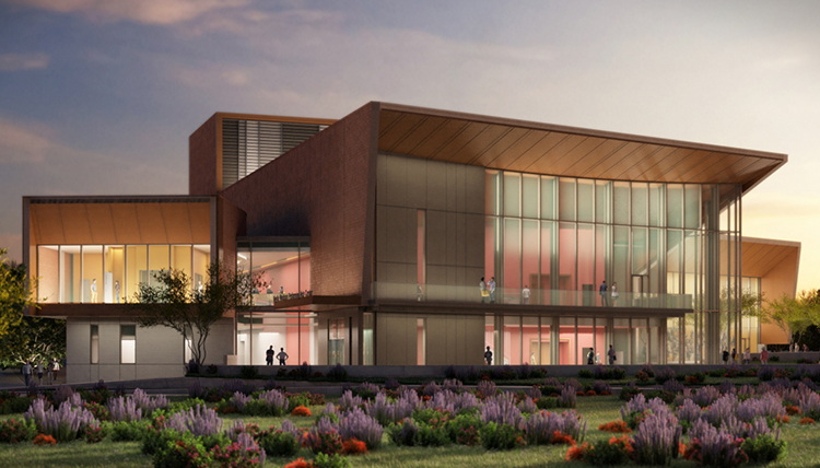 Rendering of the front of the Myrtle Woldson Performing Arts Center