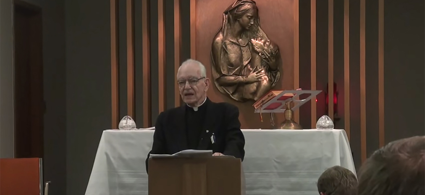 Father Nigro speaks during Mass.