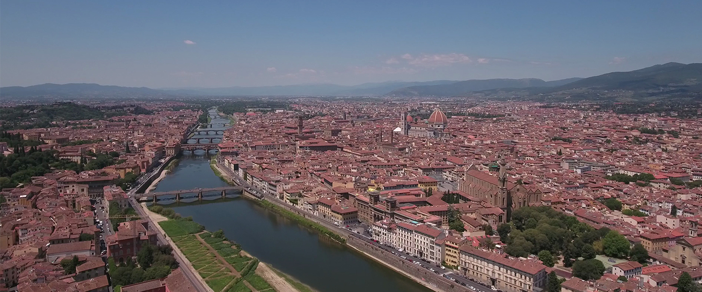 Drone view of Florence, Italy