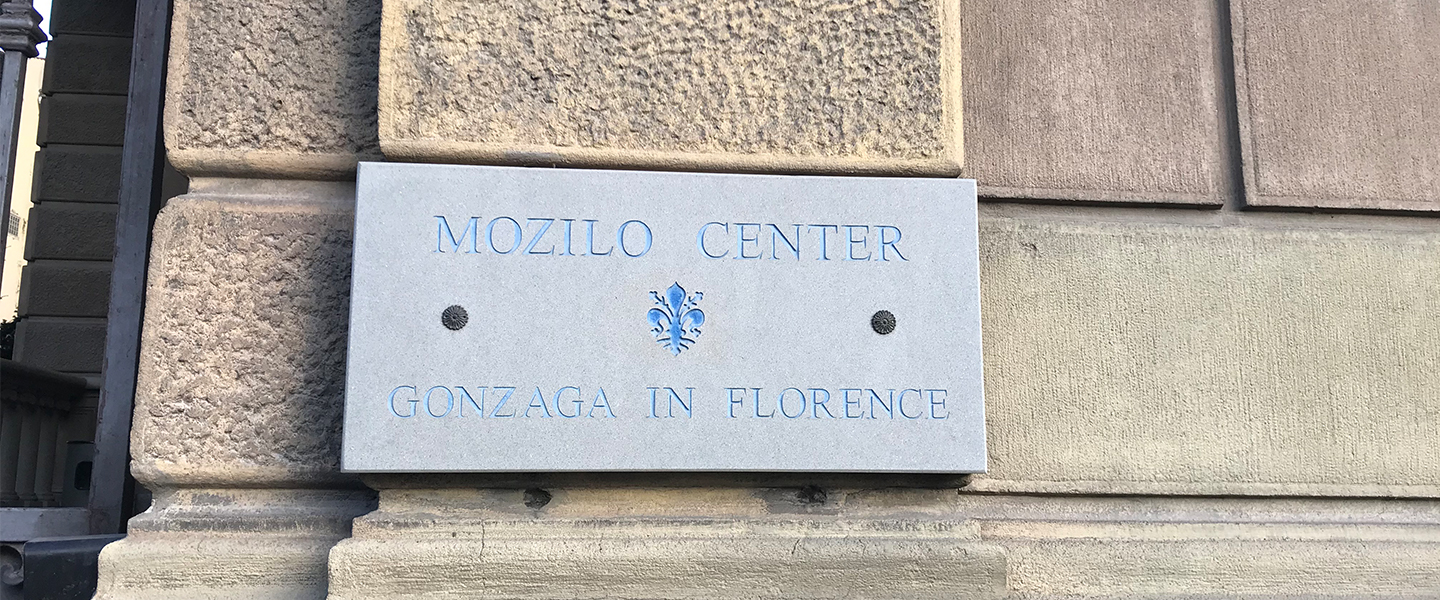 Photo of Gonzaga in Florence plaque on stone wall