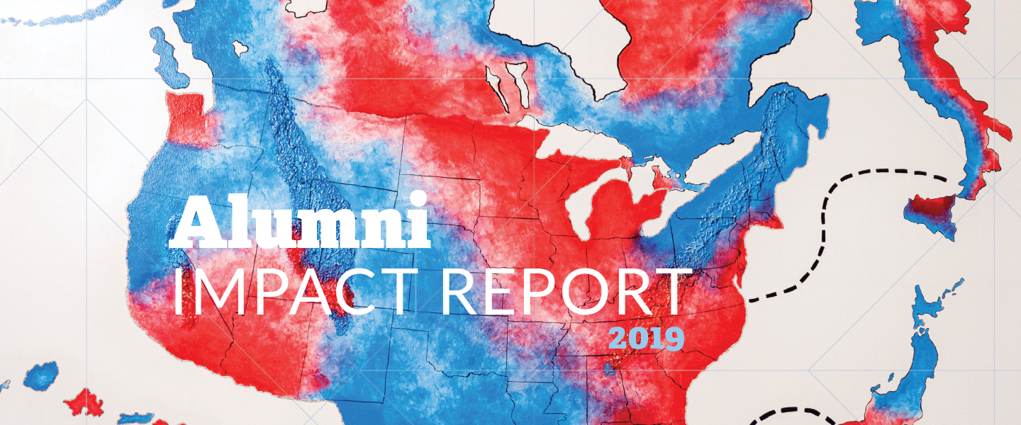 "Map of the United States plus Italy and Japan in red and blue. With text ""Alumni IMPACT REPORT 2019"""
